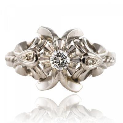 Bague Vintage Or Blanc Diamants
