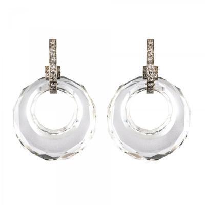 Boucles d'Oreilles Cristal De Roche Diamants