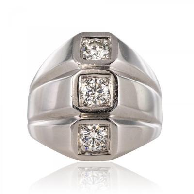 Bague Or Blanc Diamants Moderniste