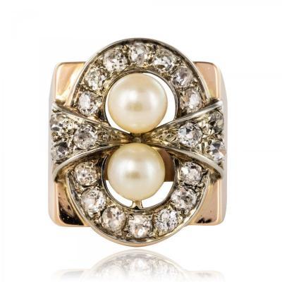 Bague Rétro Perles Et Diamants