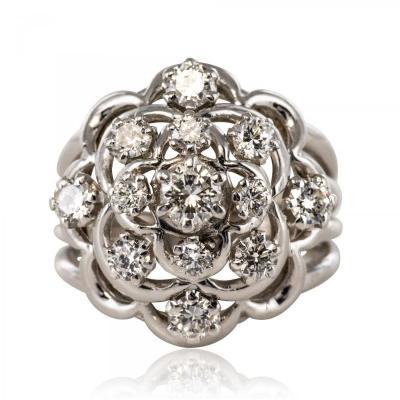 Retro Diamond Ring White Gold Son Jean Eté