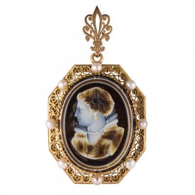 Pendentif - Broche Aucoc Camée Ancien Et Ses Perles