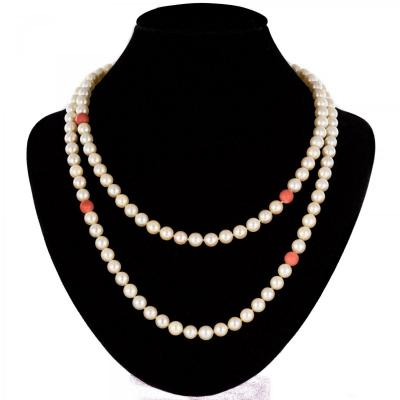 Pearls And Coral Beads Long Necklace