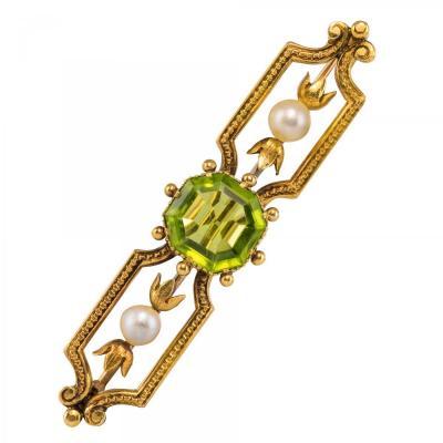 Broche Ancienne Péridot Perles Fines
