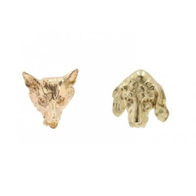 Old Gold Fox And Dog Ear Studs