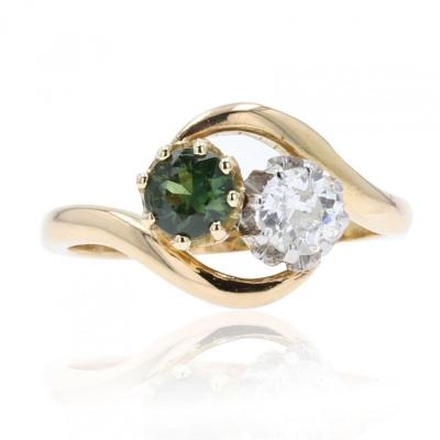 You And Me Green Sapphire Diamond Ring