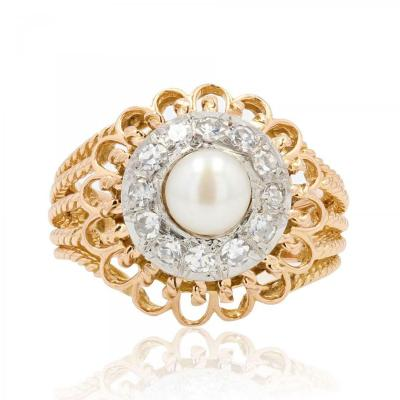 Vintage Cordes d'Or Pearl And Diamond Ring