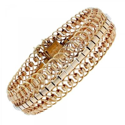 Yellow Gold Articulated Mesh Bracelet