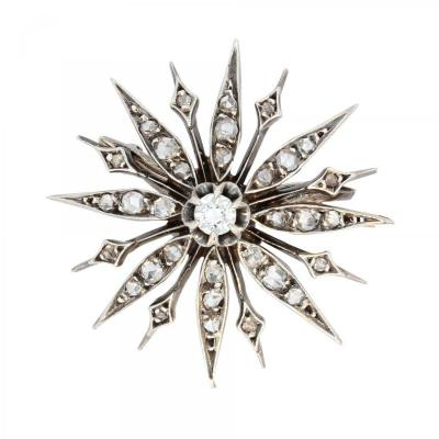 Broche Ancienne Flocon Diamants
