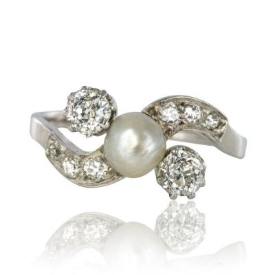 Old Fine Pearl Button And Diamond Ring