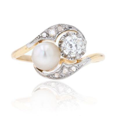 Old You And Me Diamond Fine Pearl Ring