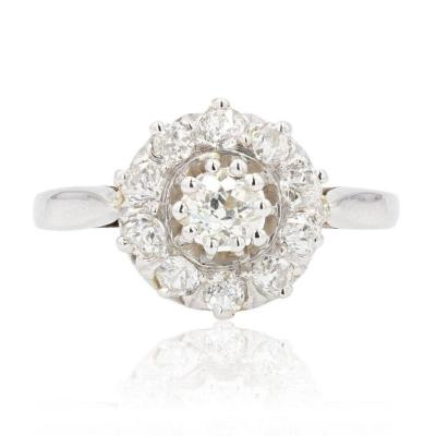 White Gold Marguerite Diamond Ring
