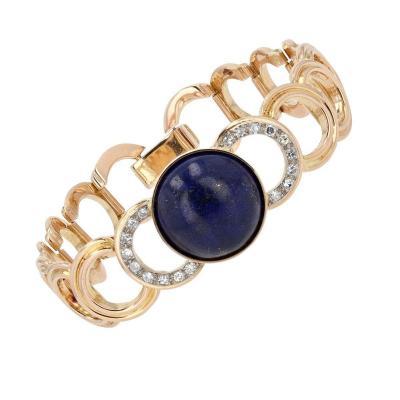 Gold Bracelet With Diamonds And Its Lapis Lazuli Cabochon