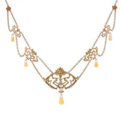 Antique Art Nouveau Opals And Diamond Necklace