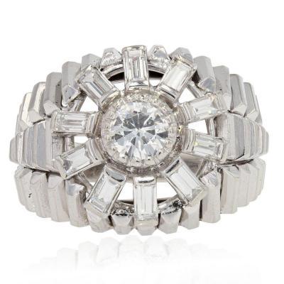 Bague Dôme Diamants Baguettes
