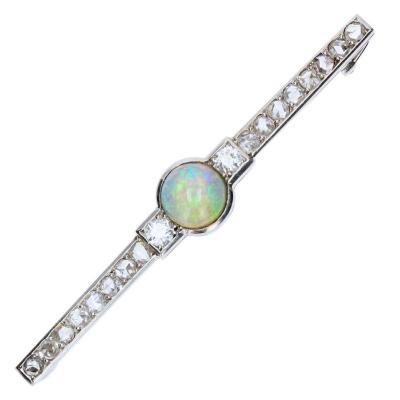 Broche Ancienne Opale Et Diamants Art Déco