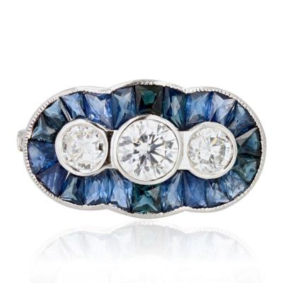 Art Deco Style Calibrated Sapphires And Diamonds Ring
