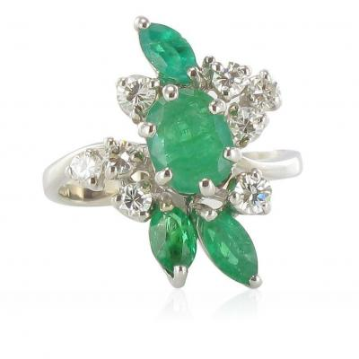 Vintage Emeralds And Diamonds Ring
