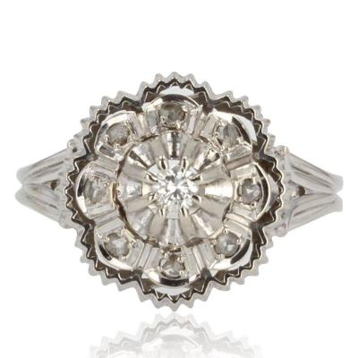 Bague Diamants Or Blanc Rétro