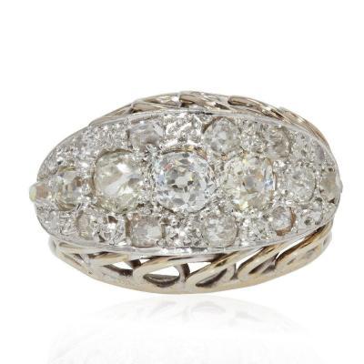 Bague Rétro Diamants Or Blanc