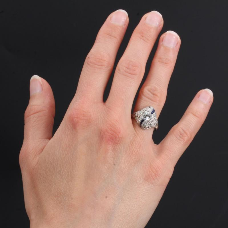 Art Deco Diamonds Calibrated Sapphires Ring-photo-2