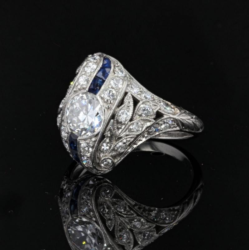 Art Deco Diamonds Calibrated Sapphires Ring-photo-4