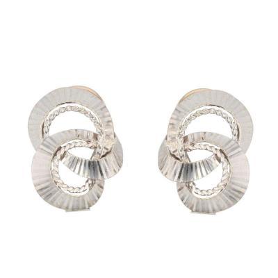 Boucles d'Oreilles Clips Or Blanc Vintage