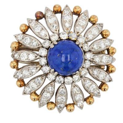 Broche Ancienne Lapis Lazuli Et Diamants