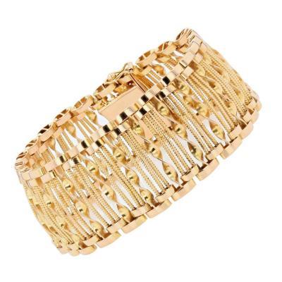 Bracelet Vintage Ajouré De Fils Et Torsade d'Or