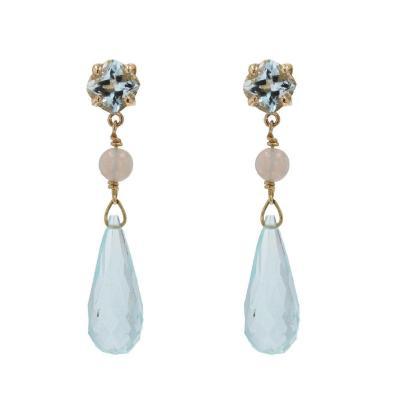 Aquamarine And Opal Drop Earrings
