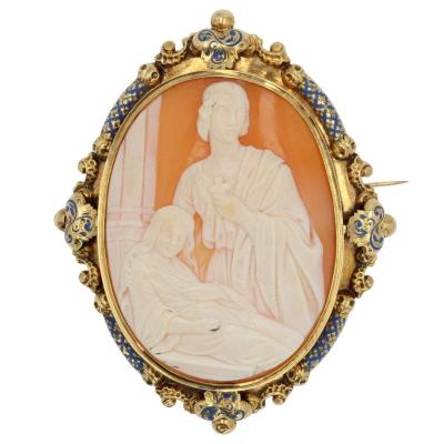 Old Cameo Brooch And Its Blue Enamel