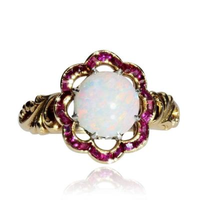 Old Opal And Calibrated Ruby Ring