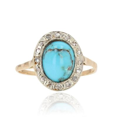 Antique Turquoise And Diamond Oval Ring