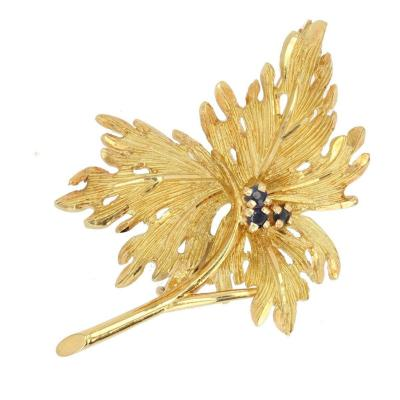 Sapphire Leaf Gold Brooch