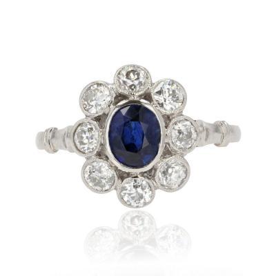 Old Marguerite Sapphire Diamond Ring