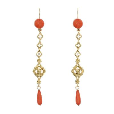 Antique Coral And Gold Drop Earrings