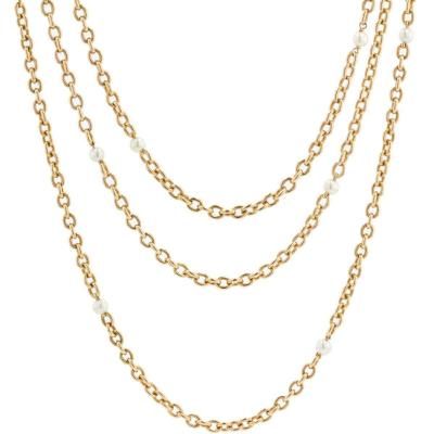Old Fine Pearls And Gold Long Necklace