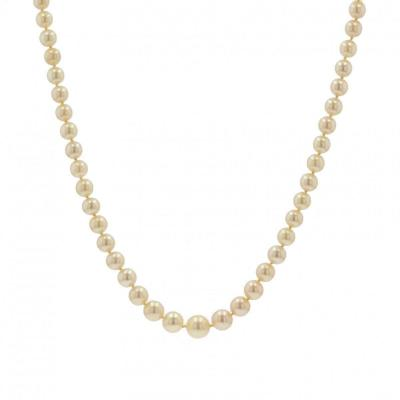 Necklace Falling Golden Cultured Pearls