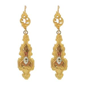 Antique Enamelled Earrings