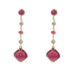 Spinel And Diamond Tourmaline Drop Earrings