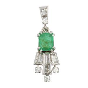 Pendentif émeraude Diamants Vintage