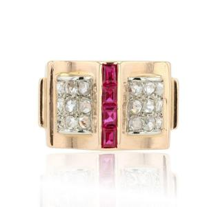 Calibrated Diamond And Ruby Tank Ring