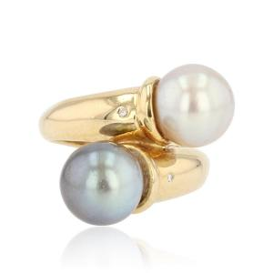 White Pearl And Gray Pearl Diamond Duo Ring