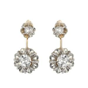 Boucles d'Oreilles Anciennes Diamants Trembleuses