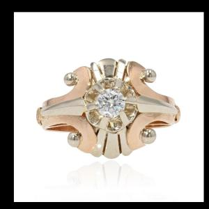 Vintage Ring Rose Gold White Gold Diamond
