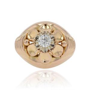 Vintage Diamond Rose Gold Ring