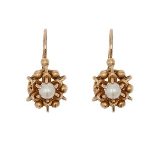 Dormeuses Anciennes Or Rose Perles
