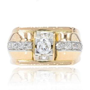 Bague Vintage Tank Or Jaune Diamants