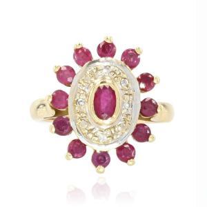 Bague Rubis Diamants Or Jaune Occasion