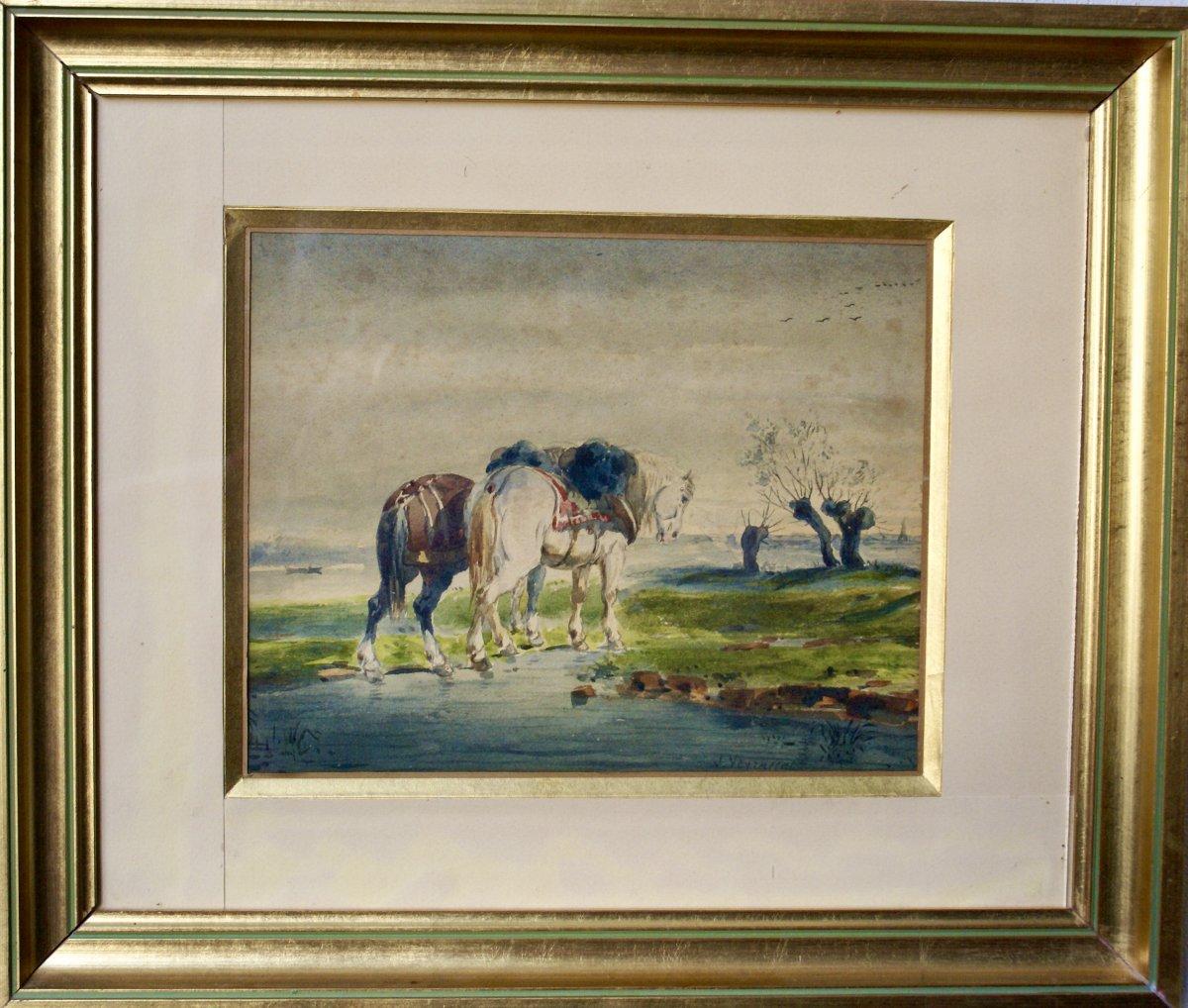Aquarelle  De  Jules Veyrassat     Peintre  De    La France  Profonde .